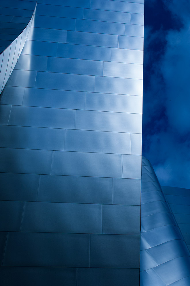 Amazing blue Disney concert hall in downtown Los Angeles is photographed by advertising photographer, John Ussenko.