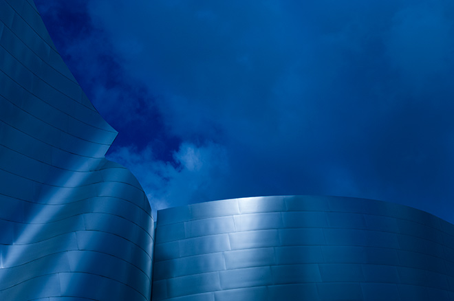Cool blue Disney concert hall in downtown Los Angeles is photographed by advertising photographer, John Ussenko.