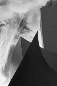 Frank Gehry concert hall  in downtown Los Angeles is photographed by advertising photographer, John Ussenko.