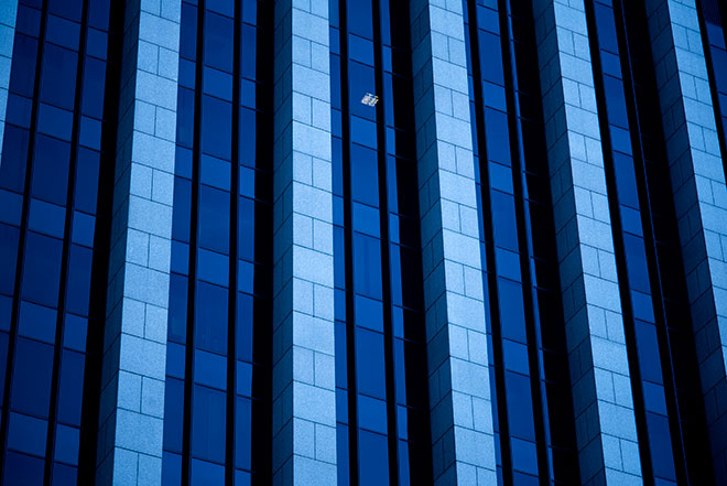 Blue buildings of downtown LA captured by visionary photographer, John Ussenko.