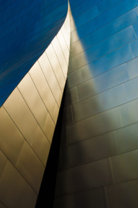 Contrasting colors of the Disney concert hall in downtown Los Angeles is photographed by advertising photographer, John Ussenko.