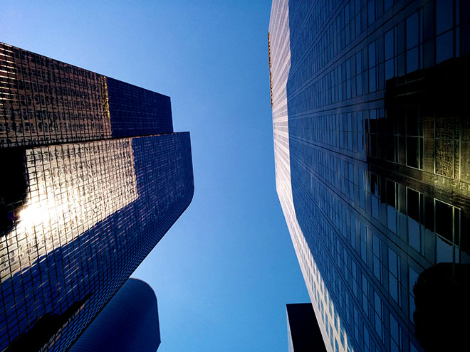 Sky line of building ins downtown Los Angeles photographed by commercial photographer, John Ussenko.