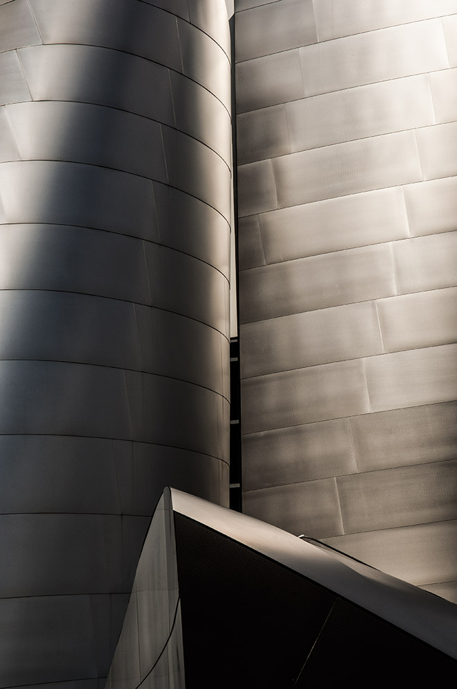 Silver Disney concert hall in downtown Los Angeles is photographed by advertising photographer, John Ussenko.