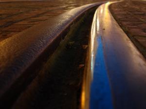 Macro shot of railroad is captured by commercial photographer, John Ussenko in DTLA.