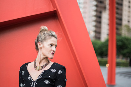 Long black dress by Free People Clothing in downtown los angeles with street fashion photographer John Ussenko and model Janelle Carroll.