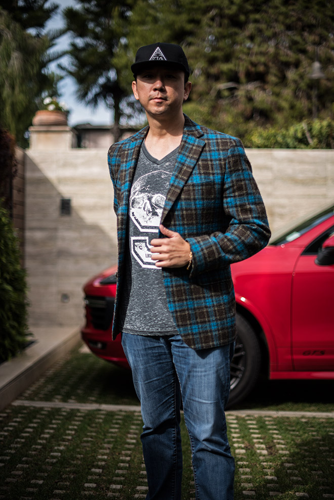Laguna Beach fashion shoot with Simon Spurr plaid blue sport coat, Mavi Jeans, and Crown of Laurel snapback, with fashion and lifestyle photographer, John Ussenko.