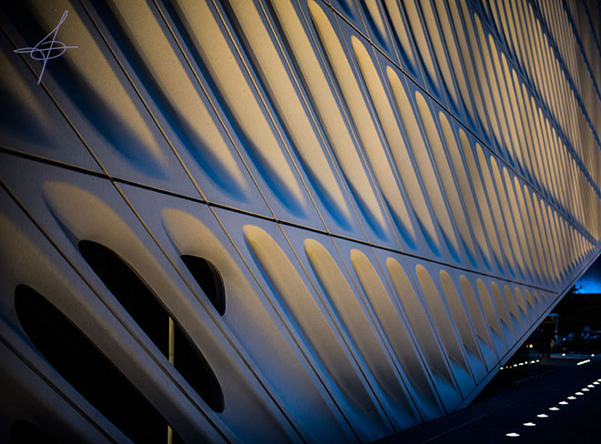 Night shot of the Broad museum in downtown los angeles photographed by lifestyle photographer, John Ussenko.