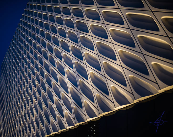 Side of the Broad museum in downtown los angeles photographed by lifestyle photographer, John Ussenko.