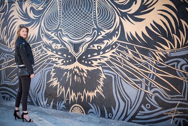 Fashion photographer John Ussenko at the Chris Saunders Tiger Mural in Santa Monica.