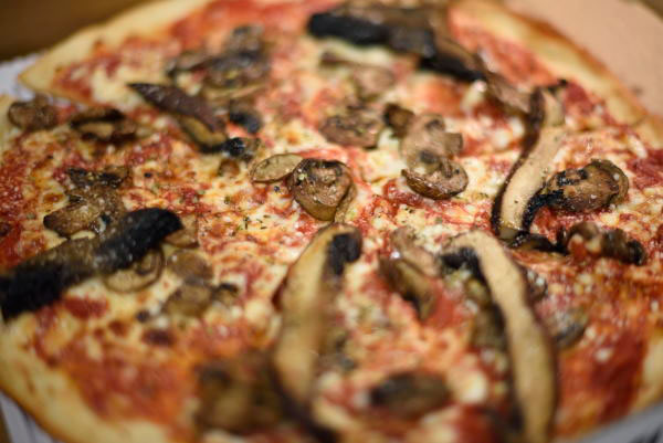 Funghi pizza with roasted portabellos and criminis