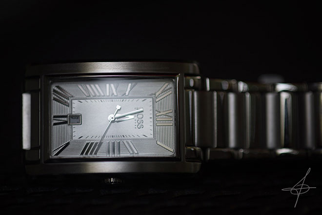 Stainless Steel Hugo Boss Watch by photographer John Ussenko in Orange County.