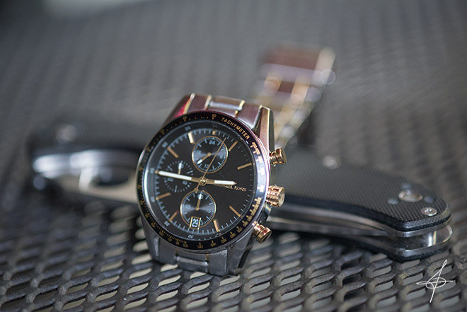 Michael Kors watch and Spyderco Knife lifestyle photo shoot by fashion photographer, John Ussenko in Orange County California.