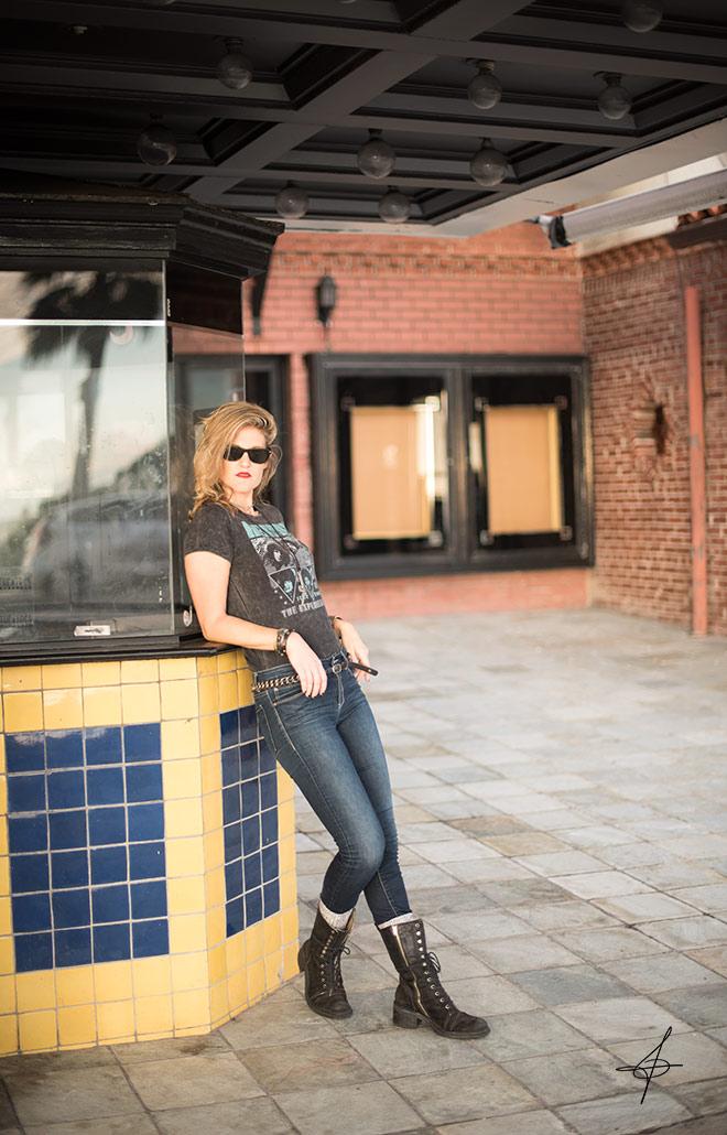 Rocker lifestyle fashion shoot with fashion photographer John Ussenko on location in Laguna Beach, OC.