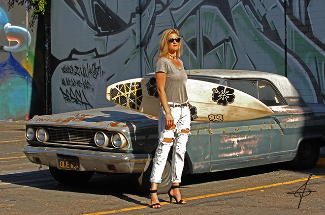 Surfboard fashion shoot in downtown los angeles with lifestyle photographer, John Ussenko and model Janelle Carroll.