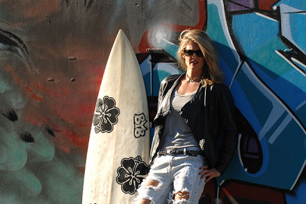 Surfboard fashion photo shoot in downtown los angeles with photographer, John Ussenko.