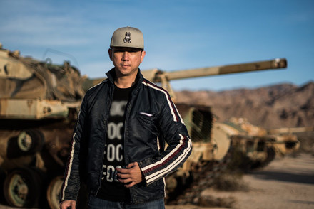 Military Tanks, Psycho Bunny Snapback, and French Connection Clothing by fashion and lifestyle photographer John Ussenko on location in the California desert.