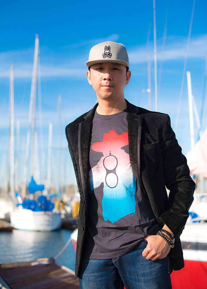 John Varvatos and Psyho Bunny clothing fashion shoot at the Long Beach harbor with lifestyle and fashion photographer, John Ussenko.