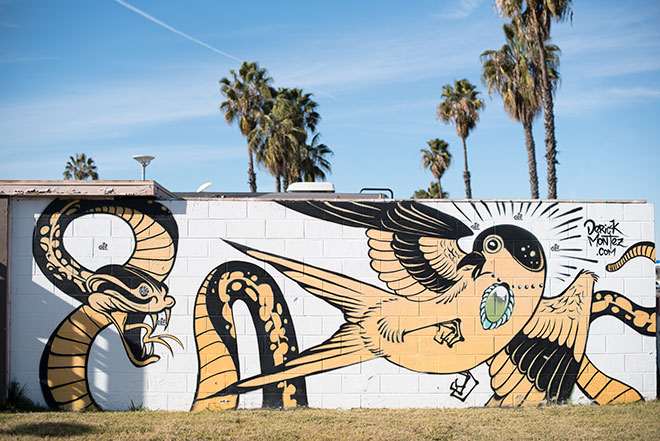 Derick Montez Mural photographed by edgy street fashion photographer, John Ussenko on location during a fashion shoot in Seal Beach.